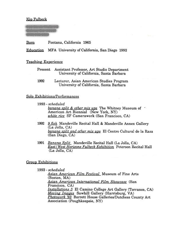 Kip Fulbeck's Resume, pg 1